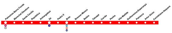 Mapa da estação Corinthians-Itaquera - Linha 3 vermelha do Metrô